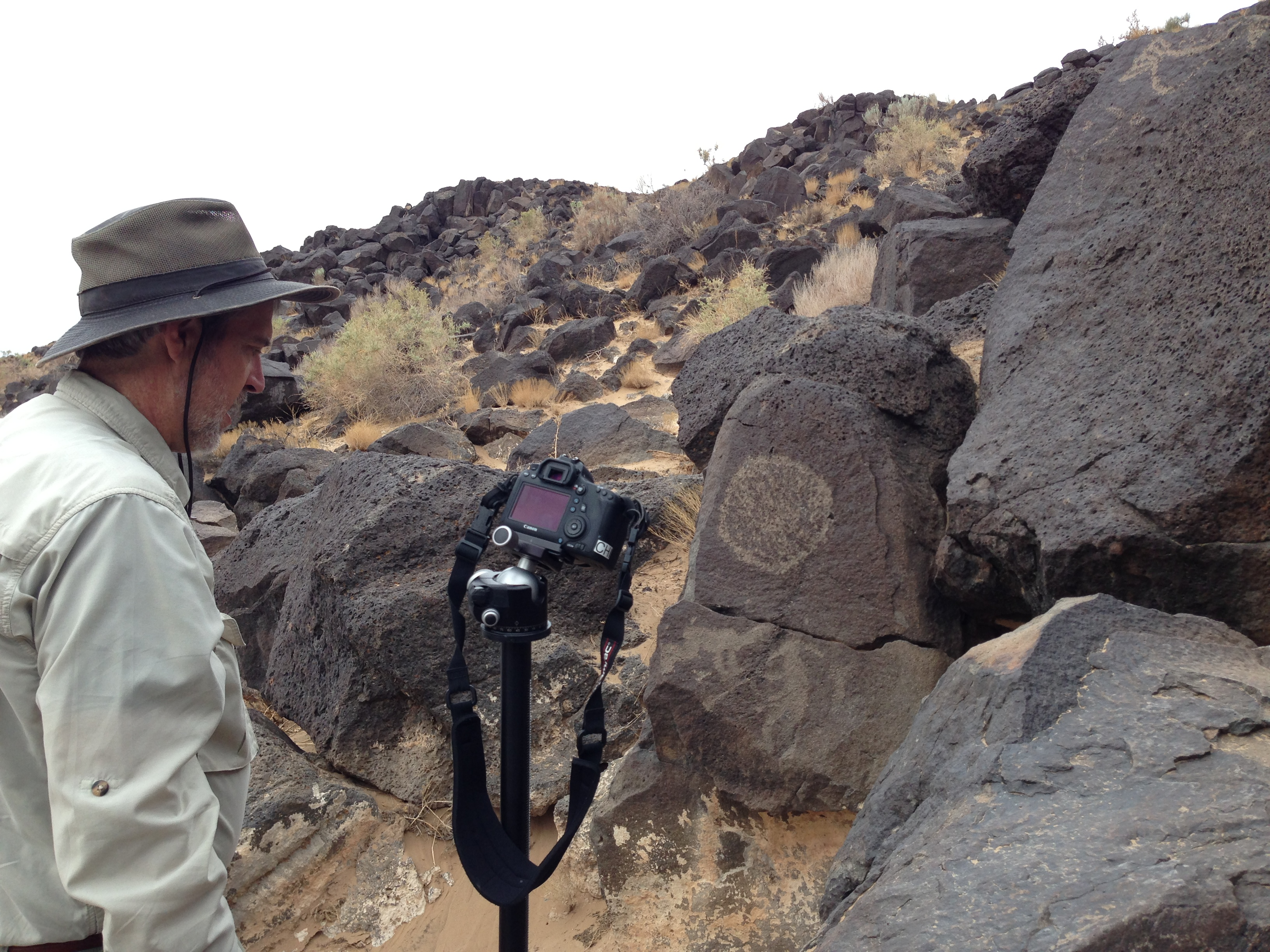Setting up to shoot RTI of the 2 flute players panel at the Petroglyph National Monument, in Albuquerque, New Mexico.