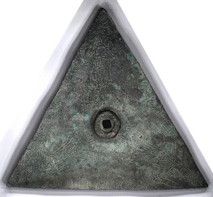 Figure 2: RTI of the bronze triangle in cumulative unsharp masking viewing mode.
